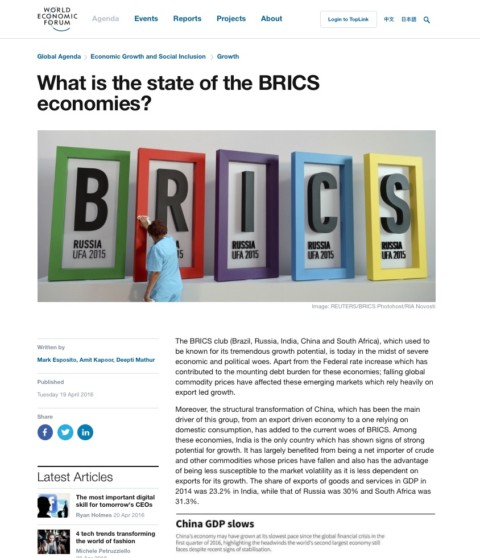 What is the state of the BRICS economies?