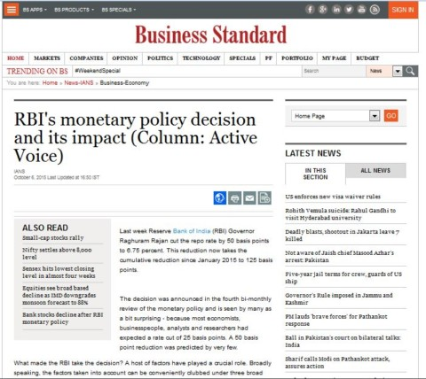 RBI's monetary policy decision and its impact