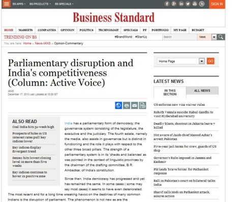 Parliamentary disruption and India's competitiveness