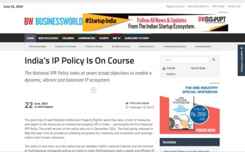 India's IP Policy Is On Course