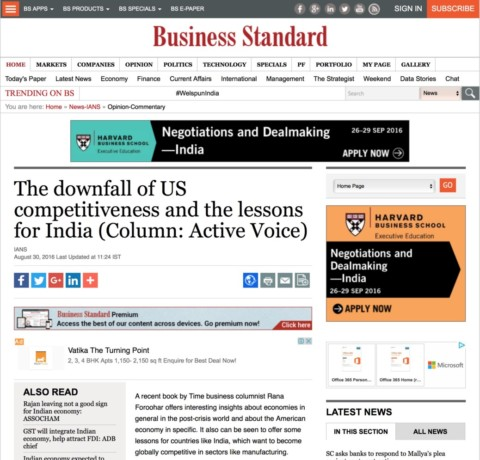 The downfall of US competitiveness and the lessons for India