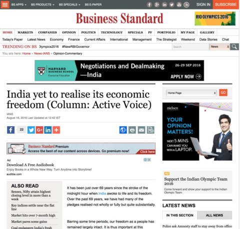 India yet to realise its economic freedom