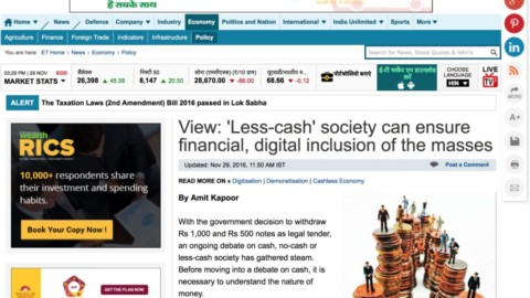 View: 'Less-cash' society can ensure financial, digital inclusion of the masses