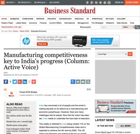 Manufacturing competitiveness key to India's progress
