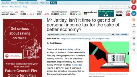 Mr Jaitley, isn't it time to get rid of personal income tax for the sake of better economy?