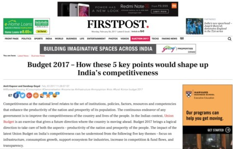 Budget 2017 – How these 5 key points would shape up India's competitiveness