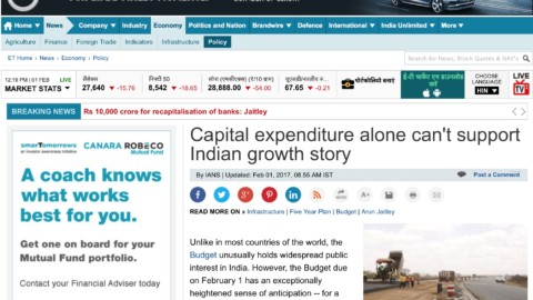 Capital expenditure alone can't support Indian growth story