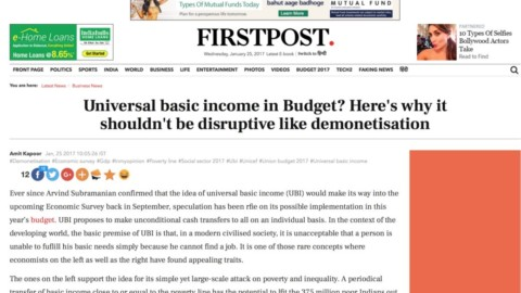 Universal basic income in Budget? Here's why it shouldn't be disruptive like demonetisation