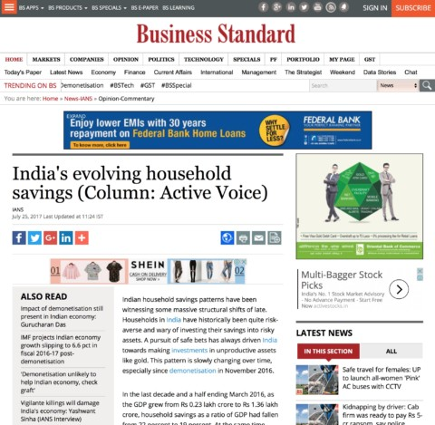 India's Evolving Household Savings