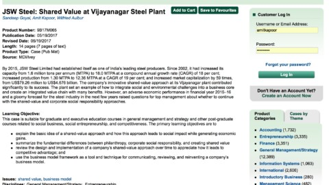 JSW Steel: Shared Value at Vijayanagar Steel Plant (Ivey Publishing)