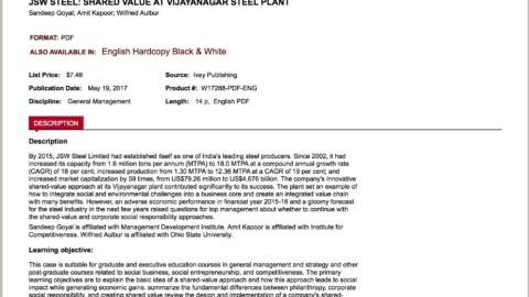 JSW Steel: Shared Value at Vijayanagar Steel Plant (Harvard Business Publishing)